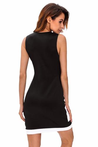 moda super sexy vestido negro blanco sin mangas 22631
