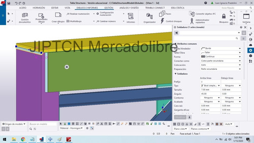 modelado en tekla structures  2019i - planos, 3d, etc.