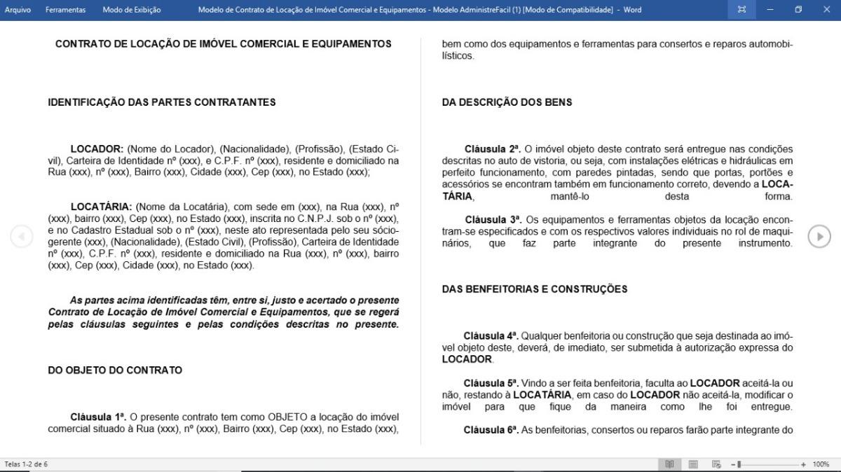 Modelo Contrato Locação De Imóvel Comercial E Equipamentos