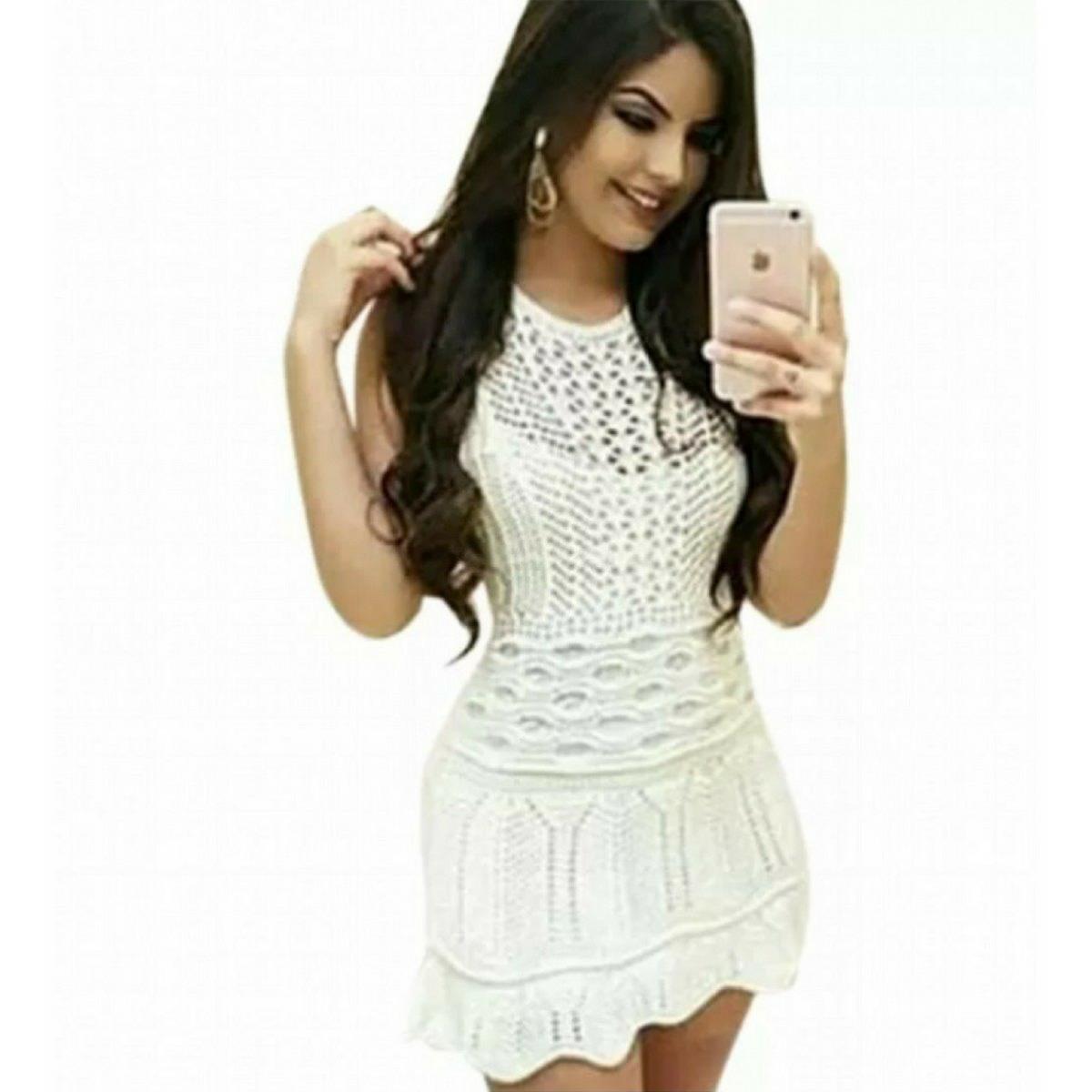 627cd4874b modelo de vestido curto da moda tricot trico roupa feminina. Carregando zoom .