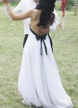 modelo pampita - vestido de novia (blanco y negro)
