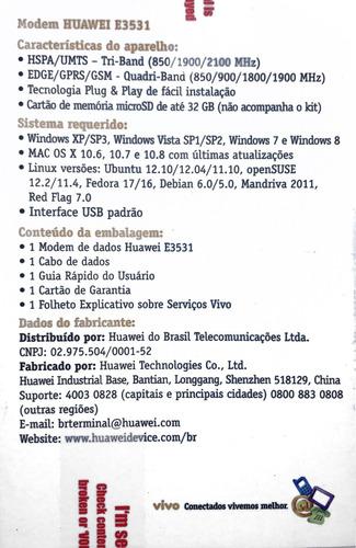 modem 3g huawei e3531 nacional desbloqueado