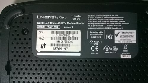 módem adsl2+ linksys   wireless-n home  wag120n