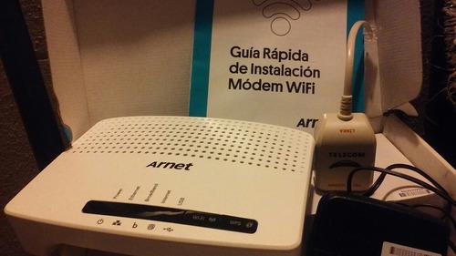 modem arnet wifi autoinstalanble en caja y accesorios