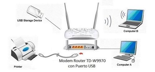 modem router td-w9970 con usb para impresora el mejor tplink