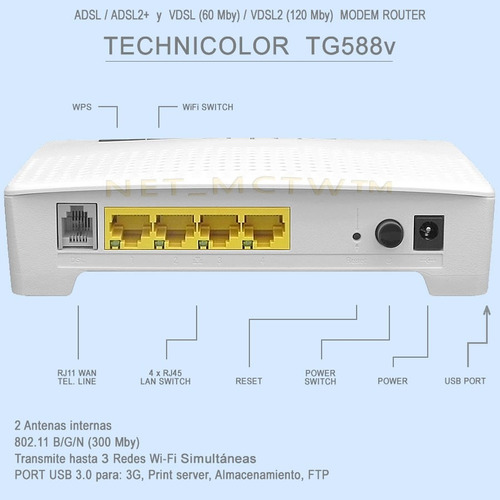 modem router wi fi technicolor tg588v - huawei zyxel tp-link