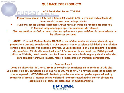 modem tp-link adsl2  td-8616 banda ancha internet
