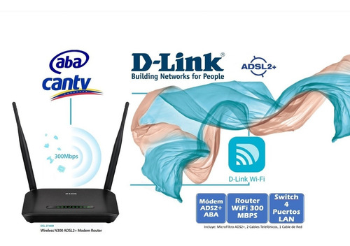 modem wifi router 300 mbps dsl-2740m d-link adsl2+ cantv aba
