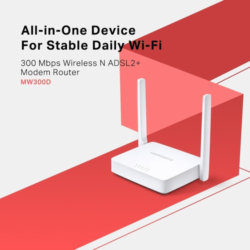 modem wifi router tplink mercusys adsl2+ aba 300mbp gtía1año