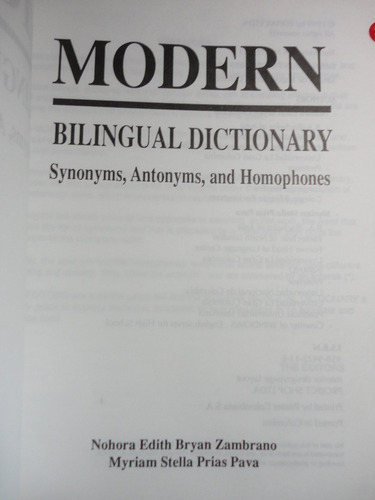 modern bilingual dictionary - synonyms, antonyms and homopho