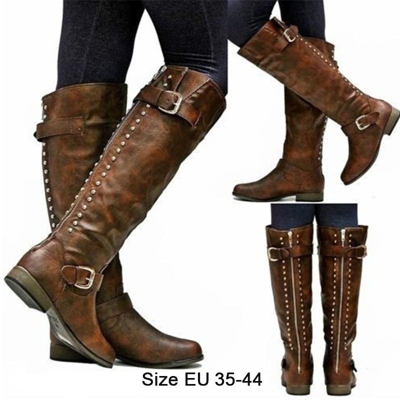 5c51d33b191 moderna botas altas de cuero para dama mujer suela suave. Cargando zoom.
