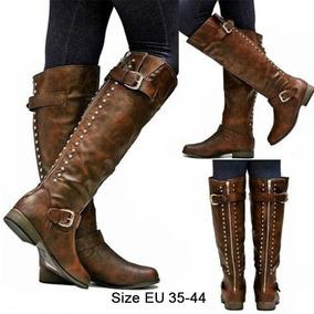 18ba5809 Zapato Cuero Dorado Negro Picos Botas Largas Mujer - Zapatos en ...