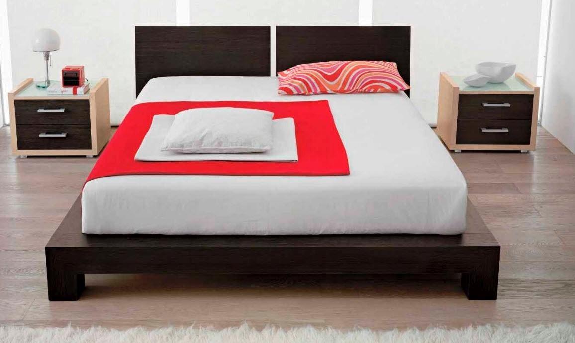 Moderna cama kingsize cabecera madera madera viva - Cama dosel madera ...