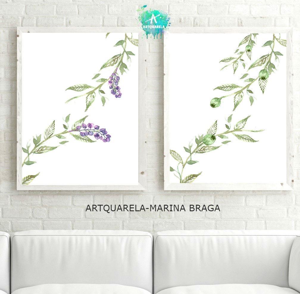 Moderna Láminas Botánica Acuarela ,flores Y Hojas 42 X 30 - $ 335,72 ...