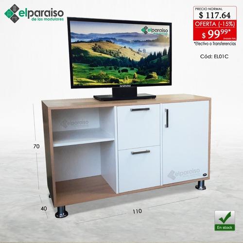 moderna mesa tv minimalista, puerta, cajones, organizador