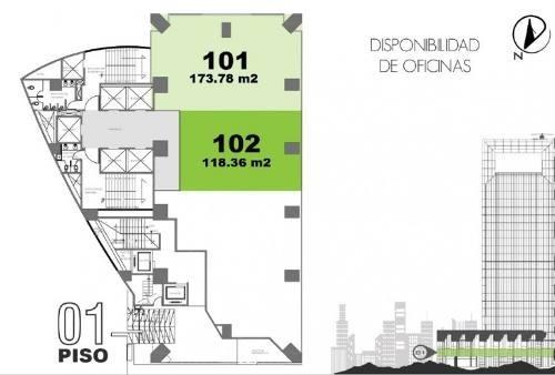 moderna y céntrica oficina en edificio corporativo aaa. ubicada en parte alta de lomas de chapultepec. ubicada en piso 1 (101) de 174 m2 aprox., acondicionada, recepción, varios privados, aire acondi
