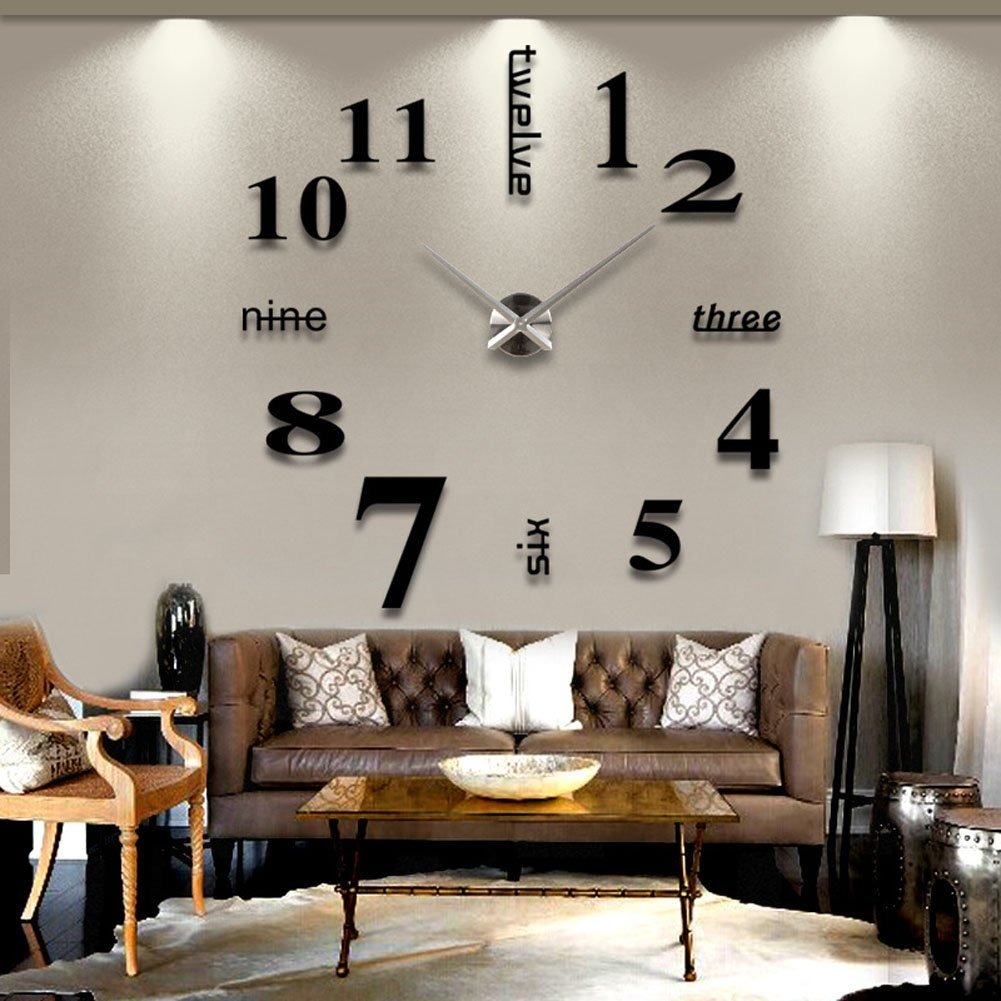 Moderno 3d Reloj De Pared Sin Marco - $ 51.404 en Mercado Libre