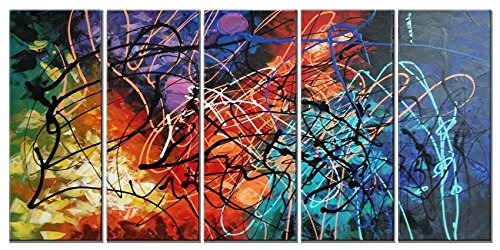 Moderno 5 Panel 100% Pintado A Mano Estirada Y Enmarcado - $ 290.900 ...