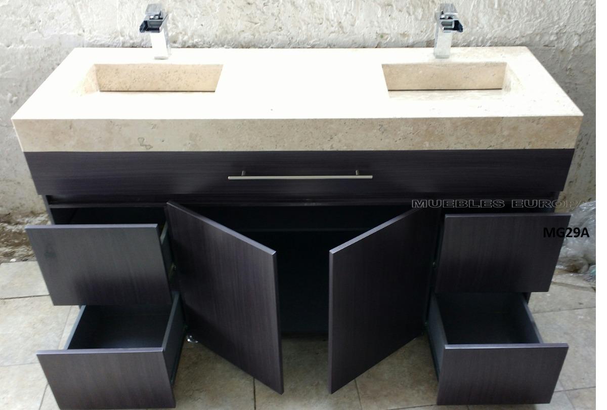 Moderno mueble de ba o lavabo doble marmol c monomandos - Muebles de bano dobles ...