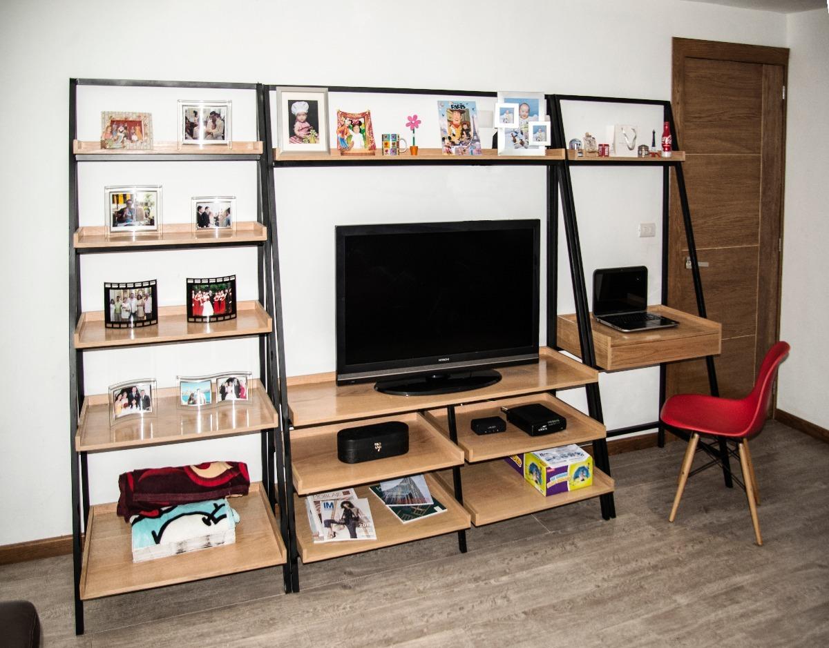 Moderno mueble de tv con librero y escritorio repisas - Mueble escritorio moderno ...