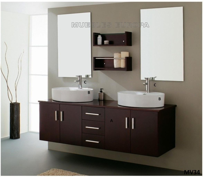 moderno mueble para ba o c doble ovalin lavabo c monomando