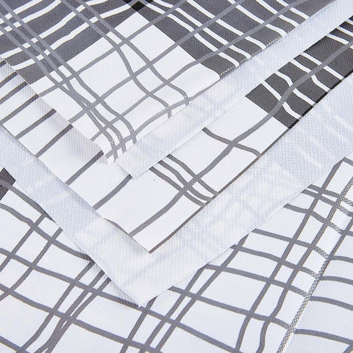 Alicemall Modern Rectangular Table Cloth White Gray Black Stripes Plastic PVC x