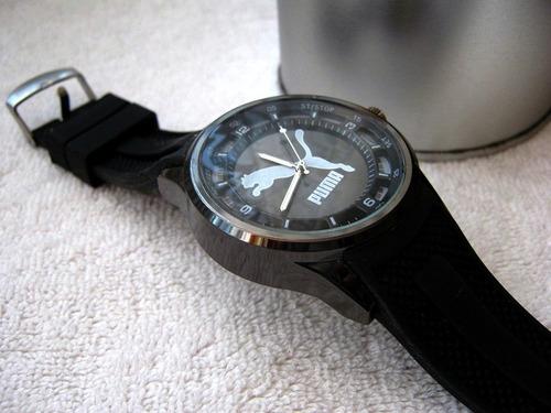 moderno reloj puma caucho / acero pavonado subasta  1 peso