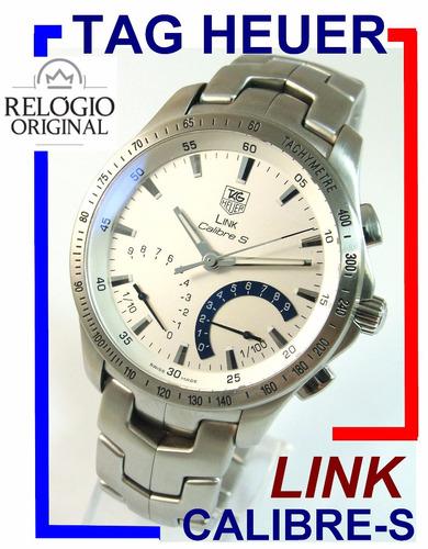 moderno tag heuer link crono  (1/100) calibre s aço cjf7111