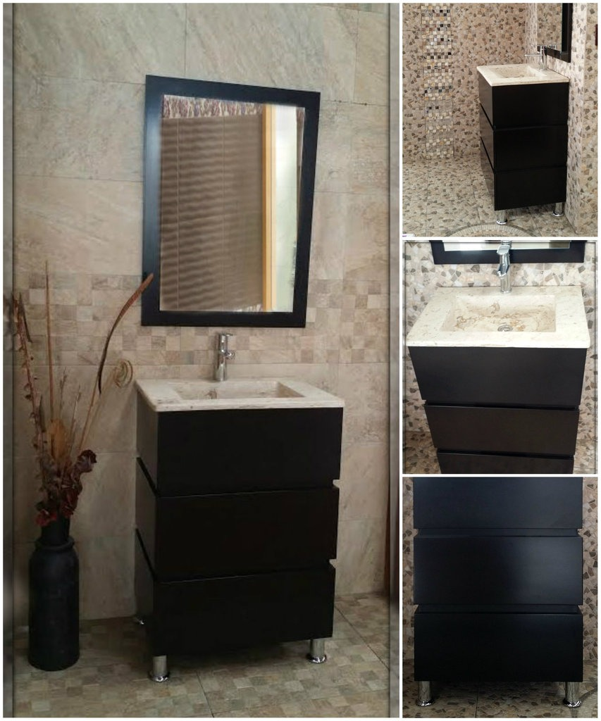 Modernos muebles para ba o de marmol chocolate mdf - Muebles bano modernos ...