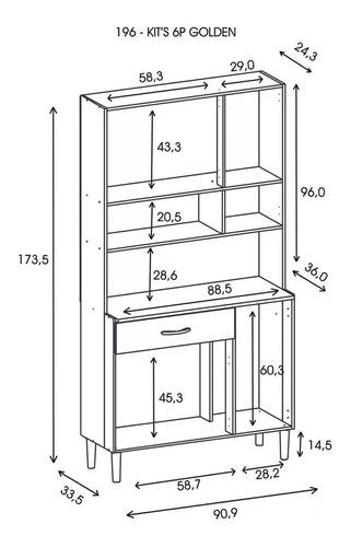 modular aparador kit de cocina organizador 6 puertas golden