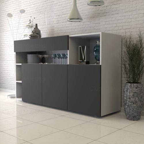 modular aparador vajillero 140cm con 10 estantes y un cajon