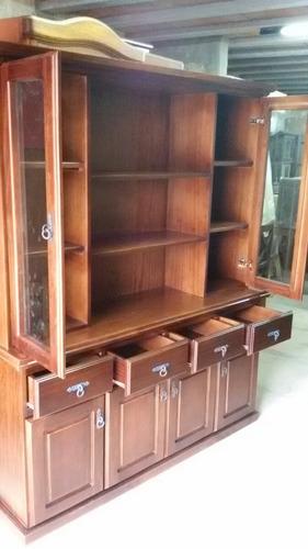 modular biblioteca cristalero en madera  lustrado