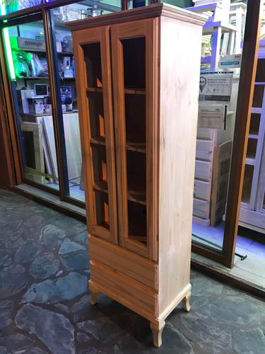modular cristalero con cajonera de pino