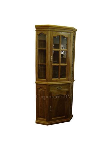 modular cristalero ochavado madera roble / carpinteria dm