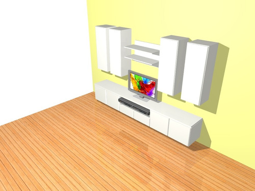 modular mueble living -mesa palermo 3 metros  de tv-rack led