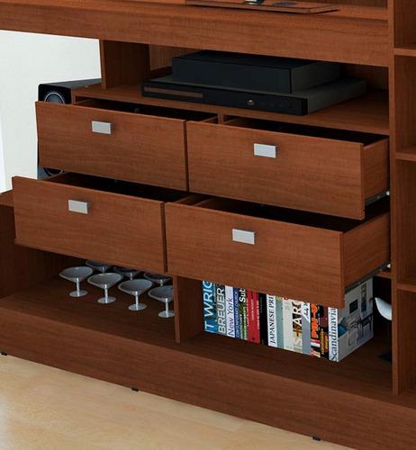 modular mueble mesa nature tv lcd led 4 cajones 10 estantes