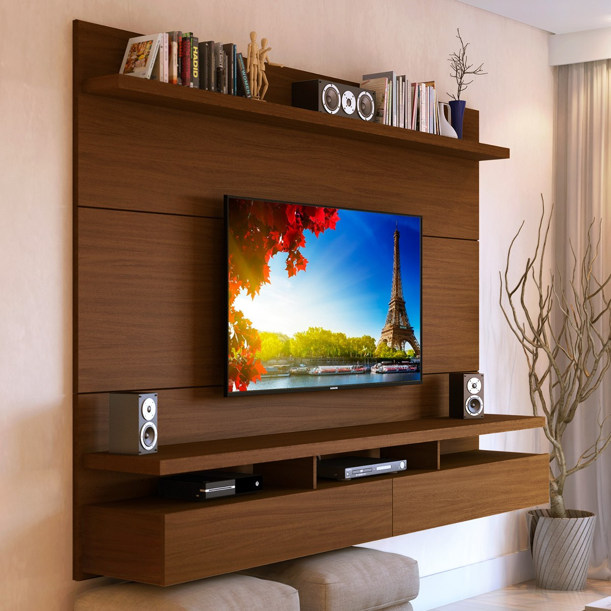 Mueble tv pared fabulous with mueble tv pared great for Muebles pequenos para tv