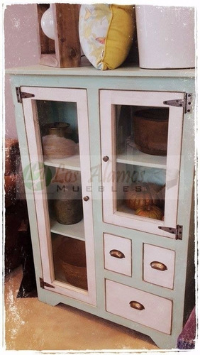 modular vitrina aparador de alamo patinado 0.83x0.38x1.20 la