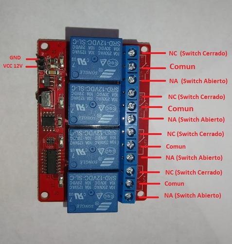 modulo 4 relevadores con control remoto infrarojo