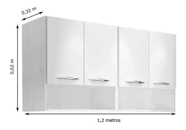 Módulo Aéreo 4 Portas 1 20m Armário Parede Cozinha Multiuso