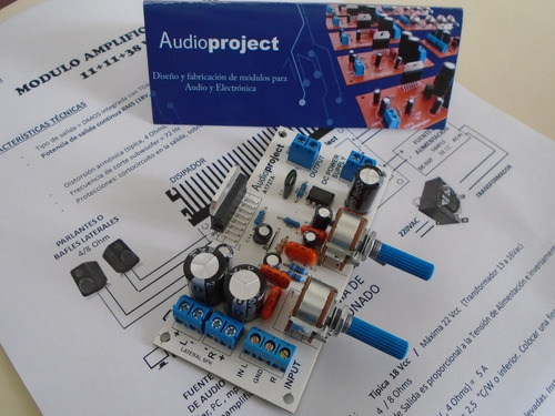 modulo amplificador 2.1 11+11+38 watts con disipador