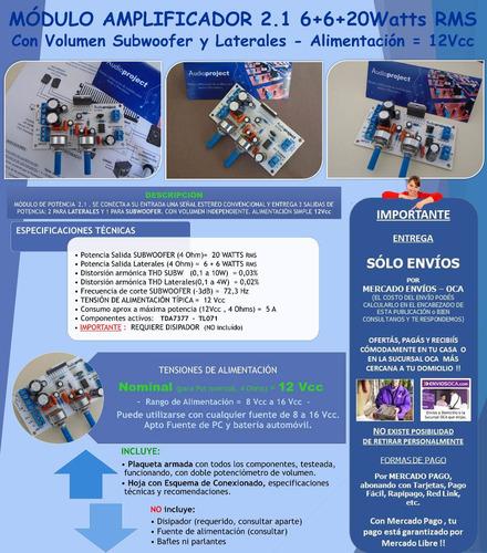modulo amplificador 2.1 6+6+20 watts con vol - con disipador