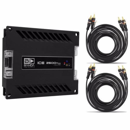 módulo amplificador banda ice 2500w + cabos rca