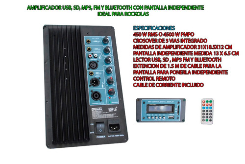modulo amplificador con entrada usb,sd ,mp3, y bluetooth