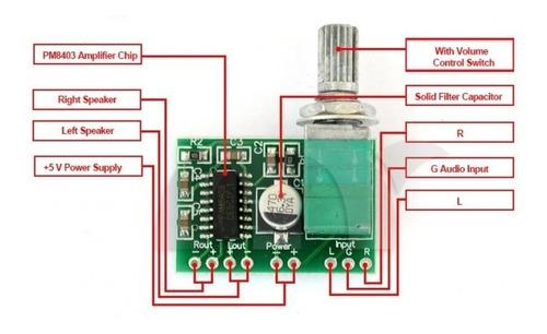 modulo amplificador de audio pam8403 2x3w con potenciometro