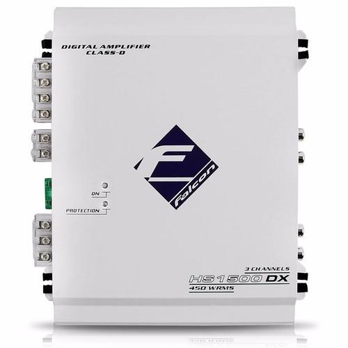 modulo amplificador hs1500dx falcon 3 canais 2 stereo 1 mono