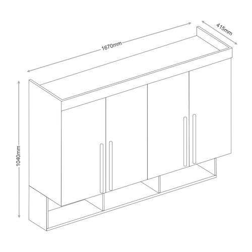 módulo armário aéreo 4 portas e 3 nichos - eucamóveis smart