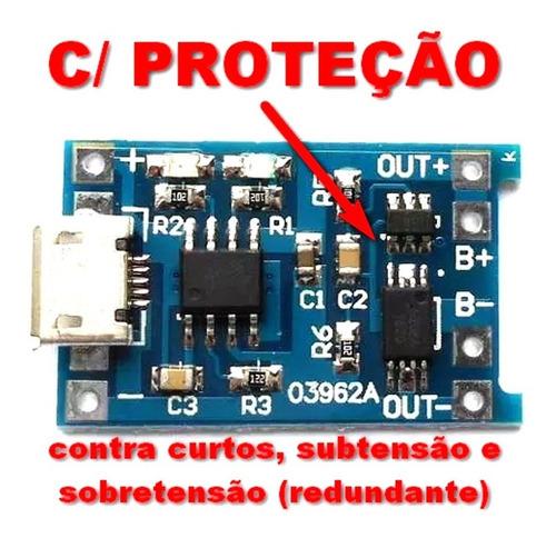 módulo carregador de baterias de lítio tp4056 com proteção