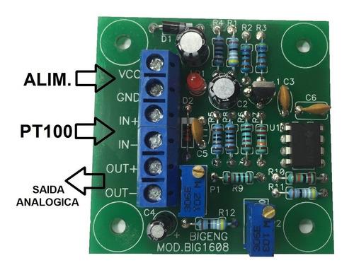 módulo conversor pt100 para 0 à 5v para arduino, pic