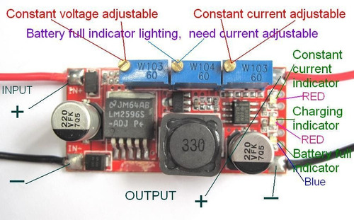 módulo dc-dc, voltaje y corriente regulable, step down